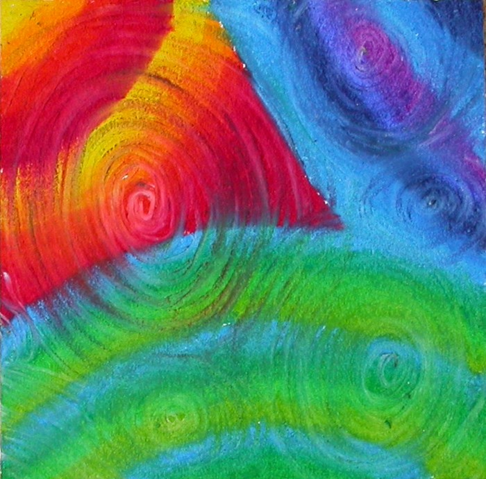 Step 2 – swirl over design with white oil pastel
