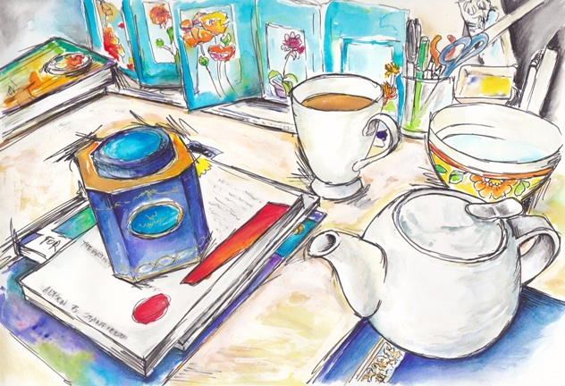 Tea on desk by Tracey Fletcher king