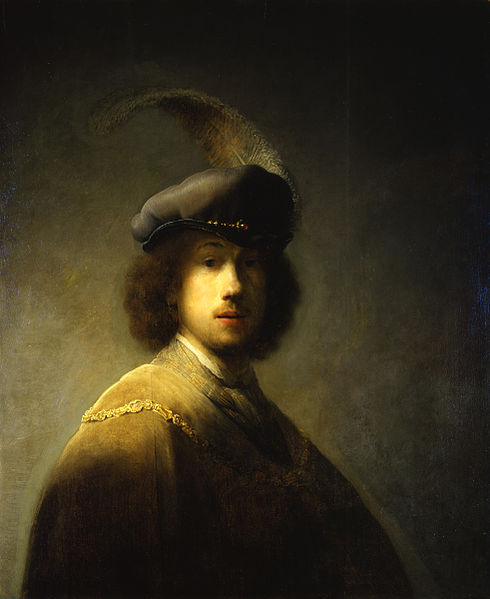 Rembrandt – 'Self portrait with plumed beret'