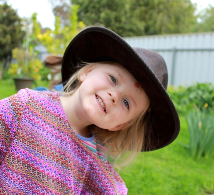 My youngest little girl in a hat